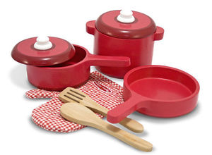 PLAY KITCHEN ACCESSORY SET POTS AND PANS