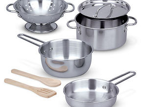 LETS PLAY HOUSE STAINLESS STEEL POTS AND PANS PLAY SET