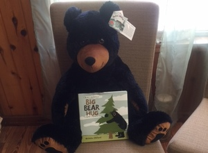 Huggable 26 inch Black Bear with the Big Bear Hug Book and Signs