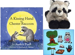 Kissing Hand Story Set with ASL Signs Felt and 8 inch Plush Little Rascal Raccoon