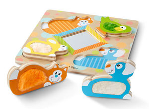First Play Wooden Touch and Feel Puzzle Peekaboo Pets