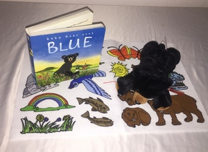 Baby Bear Sees Blue Board Hard Cover Storybook with Felt and 8 inch Black Bear